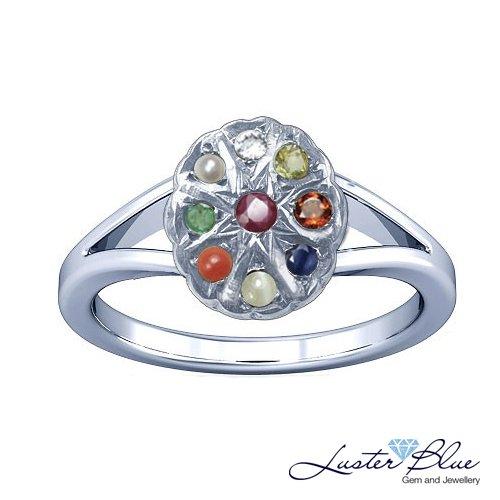 Navaratna Silver Ring Luster blue