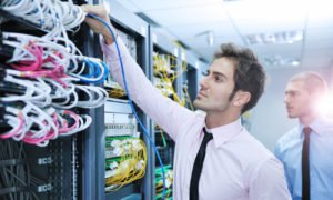 Employee in a data center