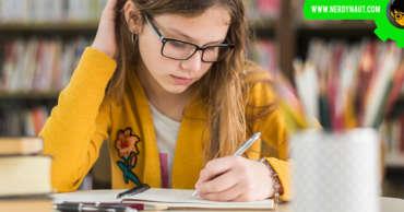 Girl learning creative writing