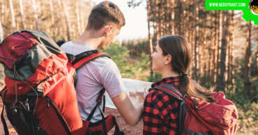 Eco travelling by a couple in a forest