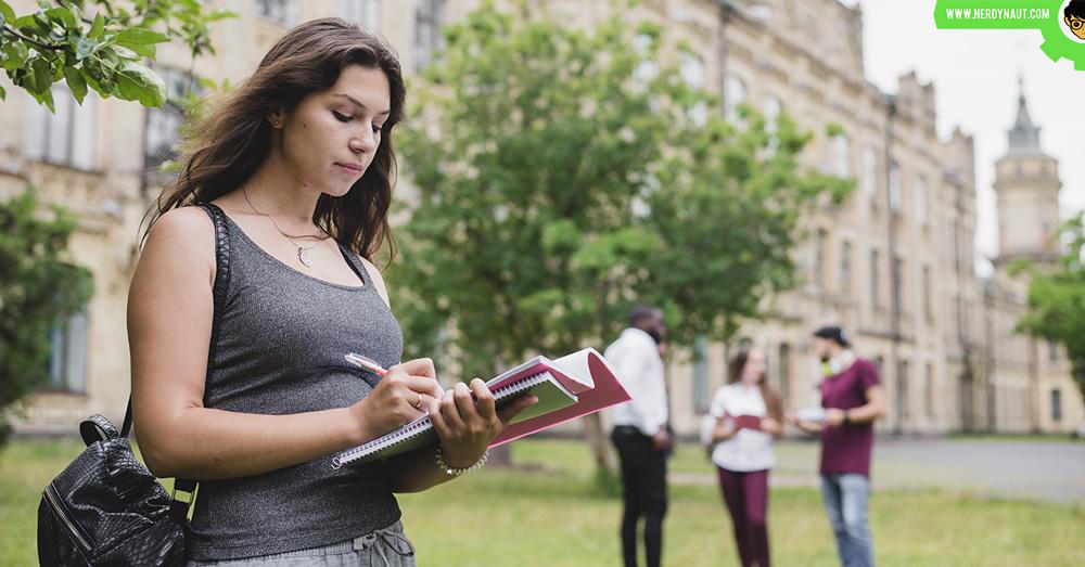 a girl walking at a University