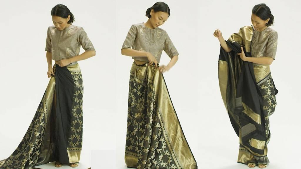 Saree draping by a woman