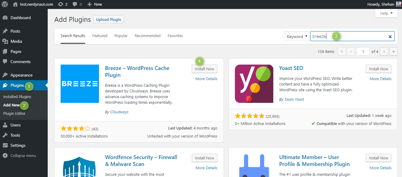 Installing Breeze WordPress Cache Plugin