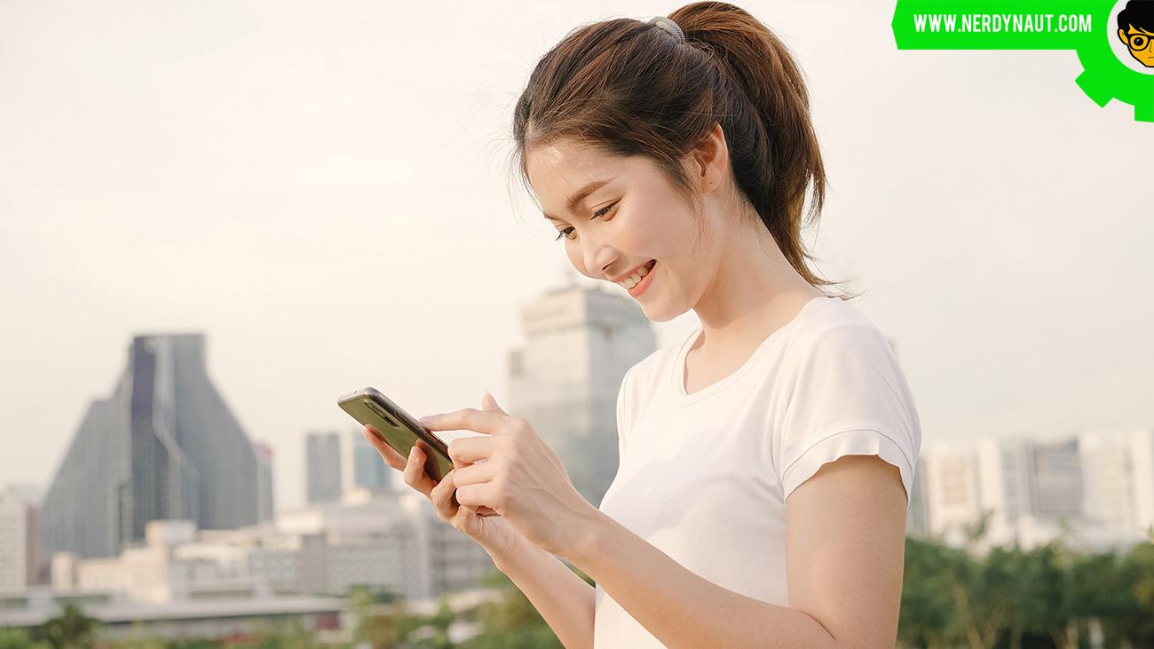 Chinese girl using social media