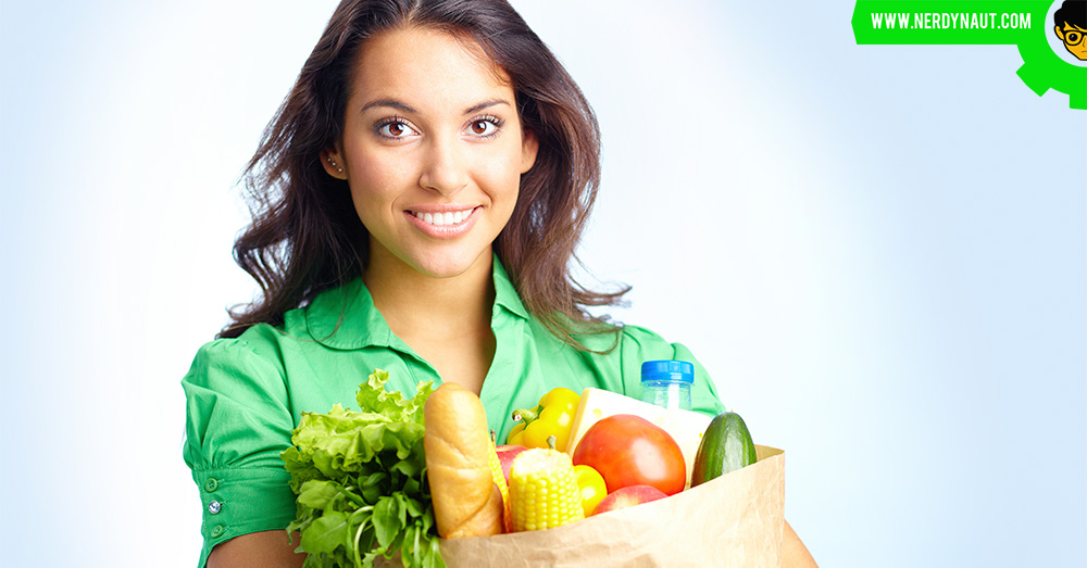 Healthy food with a woman