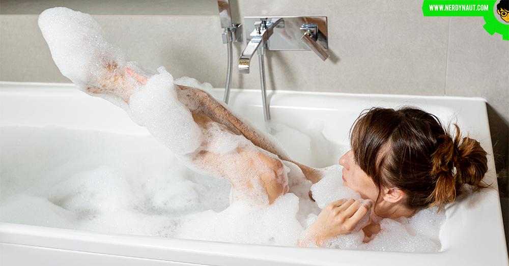 woman having a bath in a bathtub