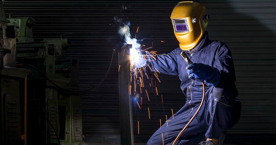 Welder while welding